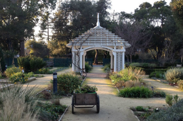 Gazebo and garden cart at the Gamble Gardens in Palo Alto
