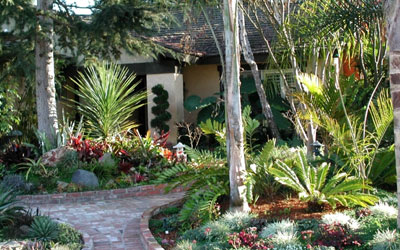 An Eclectic Garden Provides Visual Impact In The Front Garden Of This  Encinatas, California Home.